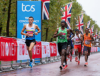 4th October 2020, London, England; 2020 London Marathon; Adam Hickey (GBR) and Sisay Lemma (ETH) during the Elite Men's RaceThe historic elite-only Virgin Money London Marathon taking place on a closed-loop circuit around St James's Park in central London on Sunday 4 October 2020.