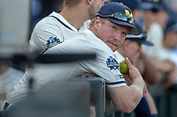 Michigan Wolverines outfielder Miles Lewis (3) in the dugout before Game 1 of the NCAA College World Series Finals on June 24, 2019 at TD Ameritrade Park in Omaha, Nebraska. Michigan defeated Vanderbilt 7-4. (Andrew Woolley/Four Seam Images)