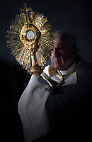 Pope Francis the traditional solar monstrance containing the Holy Eucharist at the end of the procession for the Feast of Corpus Christi in the parish of Saint Mary Consoler in Rome's Casal Bertone neighborhood on June 23, 2019.