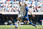 Karim Benzema of Real Madrid fights for the ball with a Deportivo Alaves' player during their La Liga match between Real Madrid and Deportivo Alaves at the Santiago Bernabeu Stadium on 02 April 2017 in Madrid, Spain. Photo by Diego Gonzalez Souto / Power Sport Images