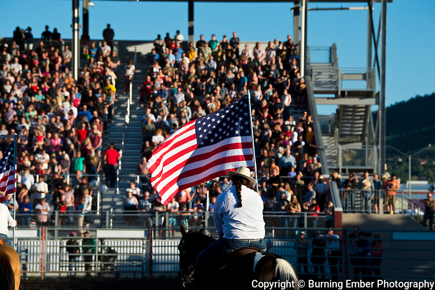 Opening with crowd and flags at the Helena MT Last Chance Stampede 1st perf July 25th 2019.  Photo by Josh Homer/Burning Ember Photography.  Photo credit must be given on all uses.