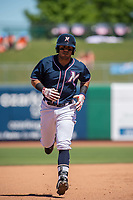 Northwest Arkansas Naturals infielder Gabriel Cancel (18) rounds second after hitting a home run on May 19, 2019, at Arvest Ballpark in Springdale, Arkansas. (Jason Ivester/Four Seam Images)
