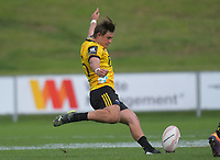 Aidan Morgan takes a restart during the 2021 Bunnings Super Rugby Aotearoa Under-20 rugby match between the Hurricanes and Highlanders at Owen Delaney Park in Taupo, New Zealand on Tuesday, 14 April 2021. Photo: Dave Lintott / lintottphoto.co.nz