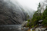 Foggy day at Avalanche Lake in the High Peaks Wilderness Area of the Adirondack State park in New York State