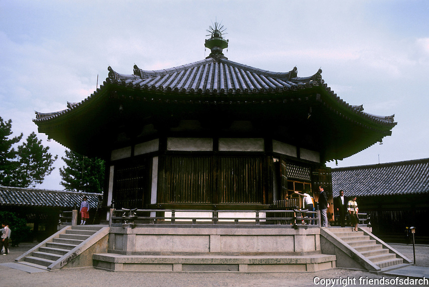 Nara Prefecture: Yumedono (Hall of Dreams), Horyuji, East Minster. Photo '82.