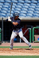 New York Yankees Oswald Peraza (7) at bat during a Florida Instructional League game against the Philadelphia Phillies on October 12, 2018 at Spectrum Field in Clearwater, Florida.  (Mike Janes/Four Seam Images)