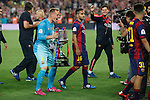 Barcelona´s /baTer Stegen celebrates after winning the 2014-15 Copa del Rey final match between Barcelona and Athletic de Bilbao at Camp Nou stadium in Barcelona, Spain. May 30, 2015. (ALTERPHOTOS/Victor Blanco)