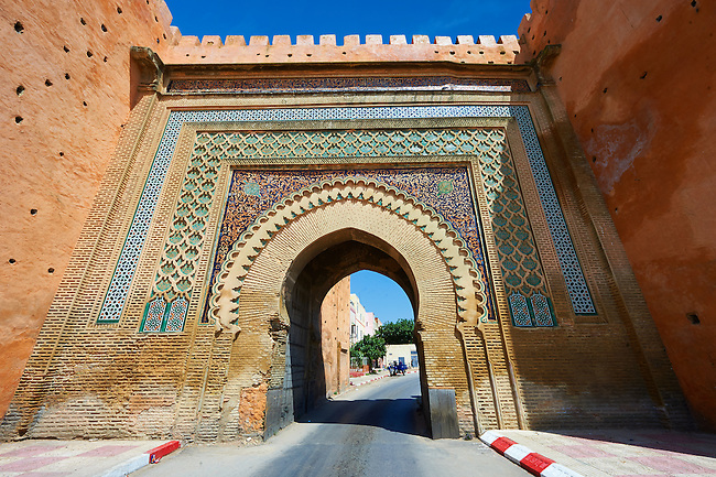 Moorish Arabesque Gate in the city walls of Meknes with zellij mosaics, Morocco