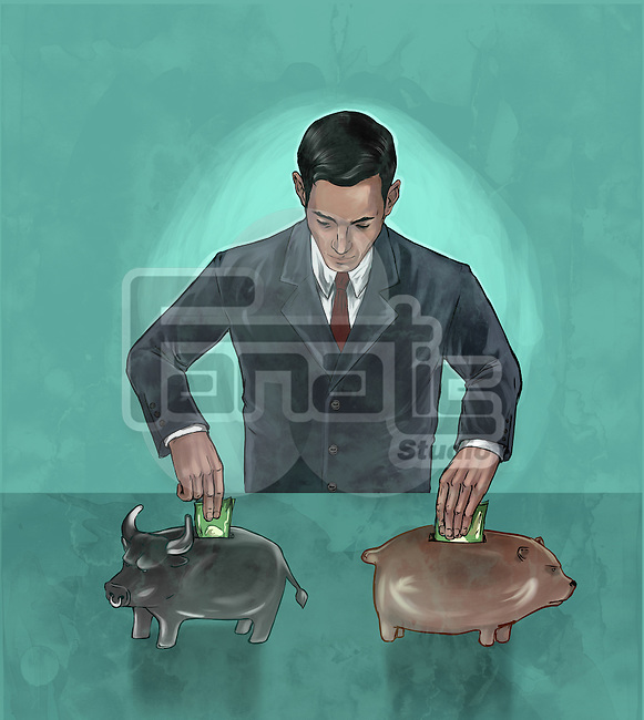 Illustrative image of businessman investing money into bear and bull market representing hedging funds