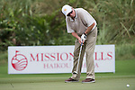 Michael Douglas plays during the World Celebrity Pro-Am 2016 Mission Hills China Golf Tournament on 23 October 2016, in Haikou, Hainan province, China. Photo by Weixiang Lim / Power Sport Images