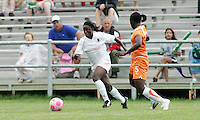 Eniola Alukogoes past #5 Anita Asante..Saint Louis Athletica defeated Sky Blue FC 1-0 at Anheuser-Busch Soccer Park, Fenton, Missouri.