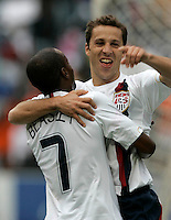 USA's DaMarcus Beasley congratulates teammate Steve Cherundolo on his goal during first half action between the national teams of South Africa (RSA) and the United States (USA) in an international friendly dubbed the Nelson Mandela Challenge at Ellis Park Stadium in Johannesburg, South Africa on November 17, 2007.