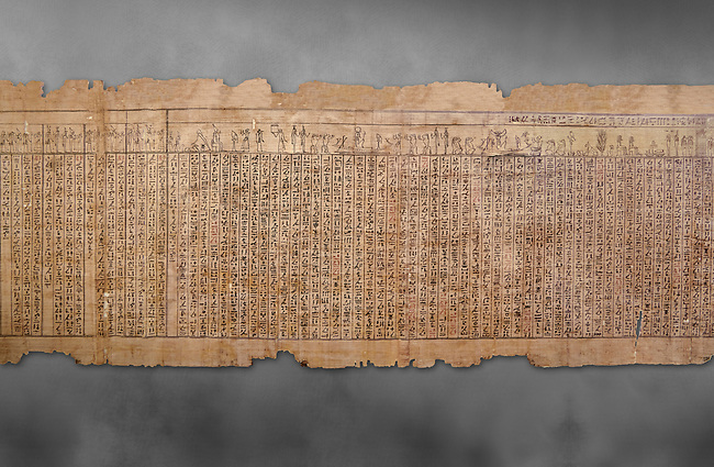 Ancientt Egyptian Book of the Dead papyrus - Spell 17 about the God Atum, Iufankh's Book of the Dead, Ptolemaic period (332-30BC).Turin Egyptian Museum. Grey Background<br /> <br /> the spell is one of the ongest in the Book of the Dead and one of its most complex frequently used in many other Books of the Dead. It is about the nature of the creator God Atum and is meant to make sure the deceased is capable of demonstrating his of her knowledge of religious secrets<br /> <br /> The translation of  Iuefankh's Book of the Dead papyrus by Richard Lepsius marked a truning point in the studies of ancient Egyptian funereal studies.