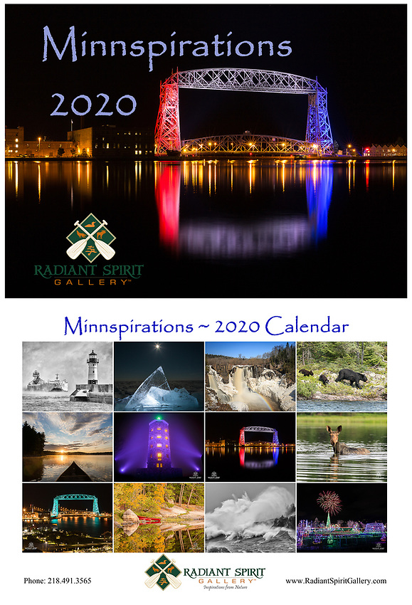 """Enjoy stunning photographs of the regions in all seasons. Includes holidays, special events, full/new moon phases, solstices, and full caption descriptions. Photographs were created by the award-winning husband and wife photography team of Gary L. Fiedler and Dawn M. LaPointe of Radiant Spirit Gallery. 12 month wall calendar measures 17"""" x 11"""" when hanging, 11"""" x 8.5"""" when folded; spiral bound and printed on heavy, glossy stock. Enjoy """"Minnspirations"""" year-round!"""
