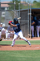 San Diego Padres second baseman Eguy Rosario (97) at bat during an Instructional League game against the Milwaukee Brewers at Peoria Sports Complex on September 21, 2018 in Peoria, Arizona. (Zachary Lucy/Four Seam Images)