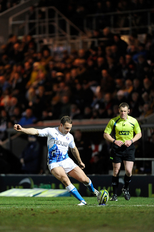 Olly Barkley of Bath Rugby kicks a conversion attempt during the LV= Cup match between Exeter Chiefs and Bath Rugby at Sandy Park Stadium on Sunday 5th February 2012 (Photo by Rob Munro)