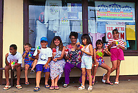EDITORIAL ONLY. Kids eating shave ice cones at Matsumoto's, Haleiwa, North shore Oahu