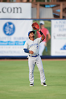 Dunedin Blue Jays left fielder Rodrigo Orozco (3) catches a fly ball during a game against the Charlotte Stone Crabs on June 5, 2018 at Charlotte Sports Park in Port Charlotte, Florida.  Dunedin defeated Charlotte 9-5.  (Mike Janes/Four Seam Images)