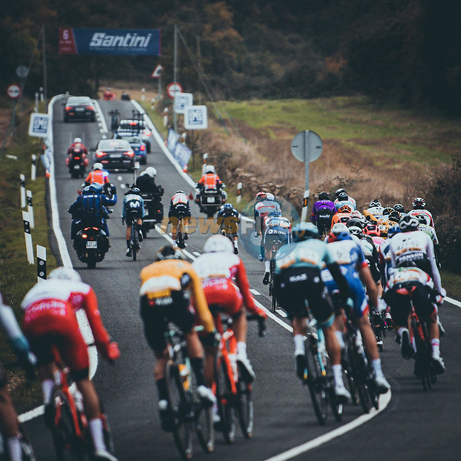The breakaway during Stage 7 of the Vuelta Espana 2020 running 159.7km from Vitoria-Gasteiz to Villanueva de Valdegovia, Spain. 27th October 2020. <br /> Picture: Unipublic/BaixauliStudio | Cyclefile<br /> <br /> All photos usage must carry mandatory copyright credit (© Cyclefile | Unipublic/BaixauliStudio)