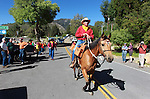 Carl Malkmus and his horse BB begin their leg of the Pony Express Re-ride in Woodfords, Ca., on Thursday, June 14, 2012. About 600 riders retrace the historic route to deliver the mochila full of mail from Sacramento to St. Joseph, Missouri. In it's 152nd year, the event spans 10 days and 1,966 miles. .Photo by Cathleen Allison