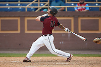 Tristan Shea (24) of the North Carolina Central Eagles follows through on his swing against the North Carolina A&T Aggies at Durham Athletic Park on April 10, 2021 in Durham, North Carolina. (Brian Westerholt/Four Seam Images)