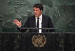 His Excellency Matteo Renzi, Prime Minister of the Republic of Italy   <br /> General Assembly Seventieth session 9th plenary meeting: High-level plenary meeting of the (6th meeting)