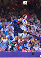 August 10, 2012..Japan's Kensuke Nagai goes for a header during bronze medal match at the Millennium Stadium on day fourteen in Cardiff, England. Korea defeat Japan 2-0 to win Olympic bronze medal in men's soccer. ..