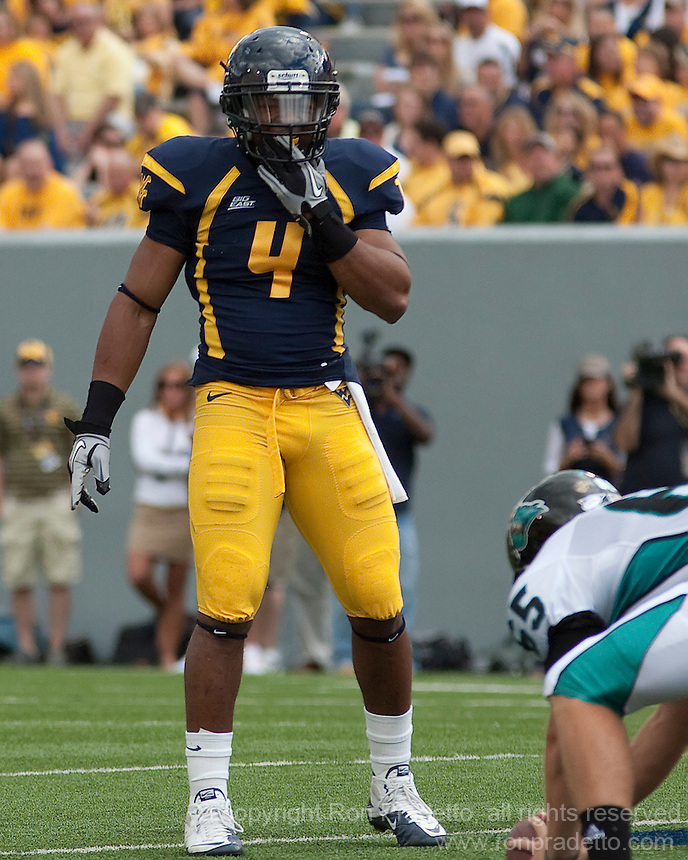 September 4, 2010: WVU defensive back Sidney Glover. The West Virginia Mountaineers defeated the Coastal Carolina Chanticleers 31-0 on September 4, 2010 at Mountaineer Field, Morgantown, West Virginia.
