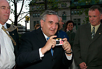 May 2003, Montreal, Quebec, Canada<br /> <br /> Jean-Pierre Raffarin , Prime Minister of France ),take a picture, in Quebec City during his visit to Canada in May 2003<br /> <br /> Mandatory Credit: Photo byRaffi Kirdi- Images Distribution. (©) Copyright 2003 by Raffi Kirdi<br /> <br /> NOTE : FRANCE OUT / More photos available on request