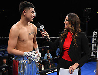 ONTARIO, CA - DECEMBER 21: Heidi Androl interviews Raymond Guajardo after he knocked out Donnis Reed on the Fox Sports PBC Fight Night at Toyota Arena on December 21, 2019 in Ontario, California. (Photo by Frank Micelotta/Fox Sports/PictureGroup)