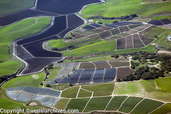 aerial photograph of costal farming between Watsonville and Salinas, Monterey County, California