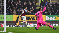 Burnley's Ashley Barnes celebrates his side's first goal goal scored by Jack Cork (not shown) as Liverpool's goalkeeper Alisson Becker appeals<br /> <br /> Photographer Andrew Kearns/CameraSport<br /> <br /> The Premier League - Burnley v Liverpool - Wednesday 5th December 2018 - Turf Moor - Burnley<br /> <br /> World Copyright © 2018 CameraSport. All rights reserved. 43 Linden Ave. Countesthorpe. Leicester. England. LE8 5PG - Tel: +44 (0) 116 277 4147 - admin@camerasport.com - www.camerasport.com