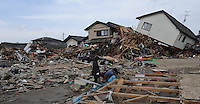 The town of Natori after the Tsunami devastated ahe entire pacifc coastline of Japan after the earthquake and tsunami devastated the area Sendai, Japan.<br /> <br /> photo by Richard Jones/ sinopix
