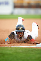 Quad Cities River Bandits first baseman Dexture McCall (27) slides head first into third base during a game against the Bowling Green Hot Rods on July 24, 2016 at Modern Woodmen Park in Davenport, Iowa.  Quad Cities defeated Bowling Green 6-5.  (Mike Janes/Four Seam Images)