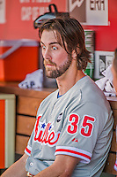 23 May 2015: Philadelphia Phillies starting pitcher Cole Hamels shows some emotion in the dugout during a game against the Washington Nationals at Nationals Park in Washington, DC. Hamels notched his 5th win of the season as the Phillies defeated the Nationals 8-1 in the second game of their 3-game weekend series. Mandatory Credit: Ed Wolfstein Photo *** RAW (NEF) Image File Available ***