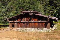 Traditional Yurok Nation redwood house built at Sumeg Village near the reservation, Klamath, California