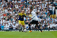 Sun 25 August 2013<br /> <br /> Pictured: Jonjo Shelvey of Swansea challenges Etienne Capoue of Tottenham Hotspur<br /> <br /> Re: Barclays Premier League Tottenham Hotspur FC  v Swansea City FC  at White Heart Lane, Tottenham, London