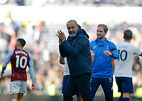 3rd October 2021; Tottenham Hotspur Stadium. Tottenham, London, England; Premier League football, Tottenham versus Aston Villa: Tottenham Hotspur Manager Nuno Espírito Santo applauding the Spurs fans at full time