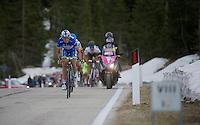 2013 Giro d'Italia.stage 11.Tarvisio - Vajont: 182km..Stefano Pirazzi (ITA) sprinting up the final meters of the Sella Ciampigotto (1790m) to maximise his advantage in the mountain classification (blue jersey)