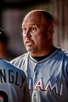 26 September 2018: Miami Marlins Third Base Coach Fredi Gonzalez chats in the dugout during a game against the Washington Nationals at Nationals Park in Washington, DC. The Nationals defeated the visiting Marlins 9-3, closing out Washington's 2018 home season. Mandatory Credit: Ed Wolfstein Photo *** RAW (NEF) Image File Available ***