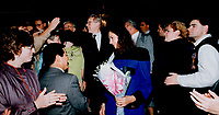 1990 FILE PHOTO - ARCHIVES -<br /> <br /> Happy throng: Premier Bob Rae, preceded by wife Arlene Perly Rae, greets well-wishers at Legislature last night.<br /> <br /> 1990<br /> <br /> PHOTO :  Erin Comb - Toronto Star Archives - AQP