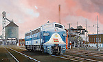 """A Wabash Railroad F3A diesel pair at Hawthorne, Indiana, engine maintenance facility with old steam locomotive coaling dock in the background. Oil on canvas, 19"""" x 31""""."""