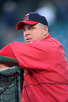 Los Angeles Angels Manager Mike Scioscia during batting practice before a 2007 MLB season game at Angel Stadium in Anaheim, California. (Larry Goren/Four Seam Images)