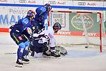 Tor zum 1:0 durch Tim Wohlgemuth (Nr.33 - ERC Ingolstadt), Frederik Storm (Nr.9 - ERC Ingolstadt) und Simon Despres (Nr.47 - Eisbären Berlin) vor Torwart Mathias Niederberger (Nr.35 - Eisbären Berlin) beim Spiel im Halbfinale der DEL, ERC Ingolstadt (dunkel) - Eisbaeren Berlin (hell).<br /> <br /> Foto © PIX-Sportfotos *** Foto ist honorarpflichtig! *** Auf Anfrage in hoeherer Qualitaet/Aufloesung. Belegexemplar erbeten. Veroeffentlichung ausschliesslich fuer journalistisch-publizistische Zwecke. For editorial use only.