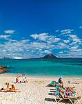Spanien, Kanarische Inseln, Fuerteventura, Playa de Corralejo: Duenen und Strand, Insel Isla de Lobos | Spain, Canary Island, Fuerteventura, Playa de Corralejo: dunes and beach, island Isla de Lobos