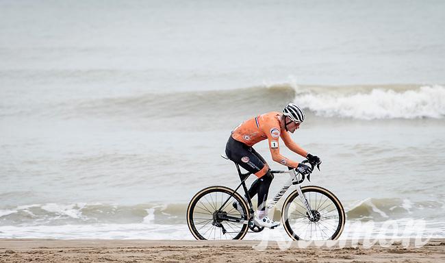 Mathieu Van der Poel (NED/Alpecin-Fenix) on his way to a 4th Elite World Champion Title<br /> <br /> UCI 2021 Cyclocross World Championships - Ostend, Belgium<br /> <br /> Elite Men's Race<br /> <br /> ©kramon