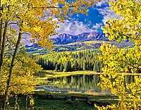 Beaver Lake with fall colored aspens. Uncompahgre National Forest, Colorado