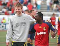 Real Salt Lake midfielder Freddy Adu (right) and Columbus Crew midfielder Eddie Gaven (left) in the Real Salt Lake 0-0 draw with Columbus Crew at Rice Eccles Stadium in Salt Lake City, Utah April 14, 2007