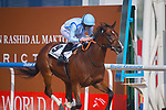 DUBAI,UNITED ARAB EMIRATES-MARCH 31: (9) Heavy Metal  ,ridden by Ryan Moore,wins the Dubai World Cup at Meydan Racecourse on March 31,2018 in Dubai,United Arab Emirates (Photo by Michael McInally/Eclipse Sportswire/Getty Images)