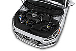 Car stock 2018 Hyundai Sonata Eco 4 Door Sedan engine high angle detail view